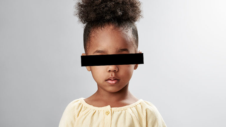 african american girl with black bar across eyes